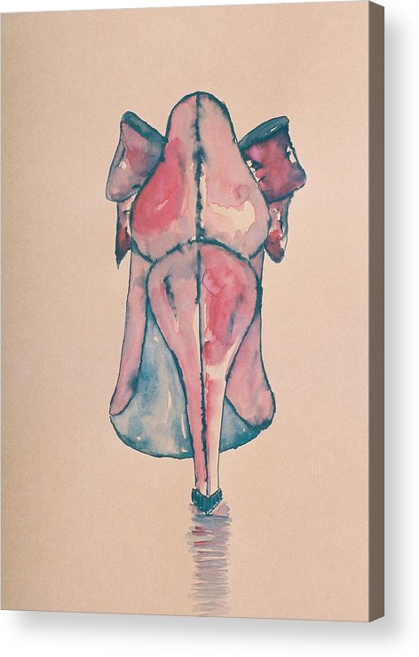 Drawing Acrylic Print featuring the drawing Red Shoe by Oudi Arroni