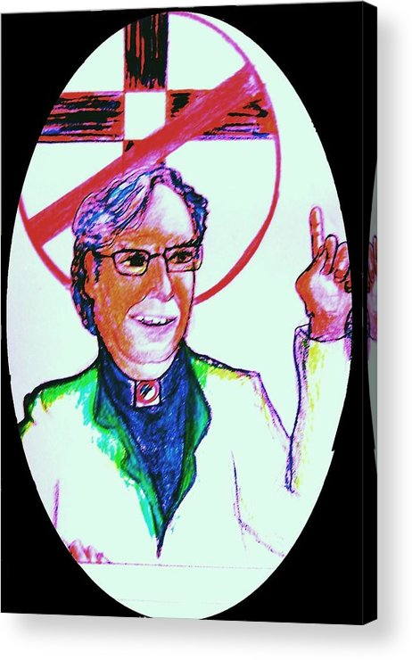Atheist Acrylic Print featuring the drawing Richard Dawkins Loves To Preach by Richard Hubal