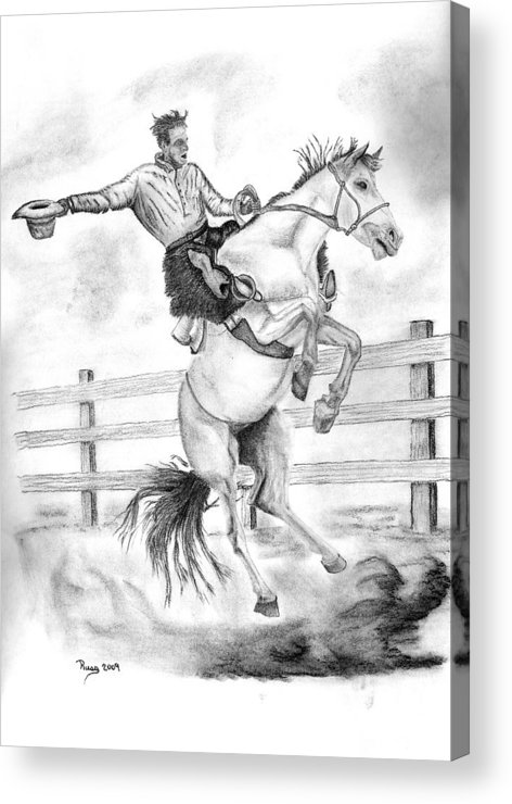 Cowboy Acrylic Print featuring the drawing Riding A Flying Horse by Russ Smith