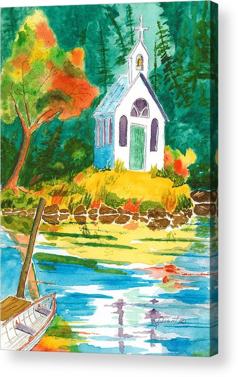 Chapel Acrylic Print featuring the painting Roche Harbor Chapel by Buster Dight