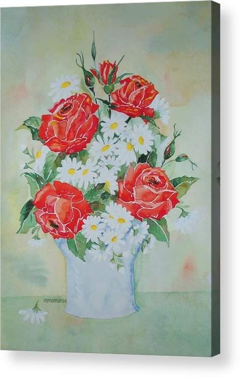 Roses Flowers Acrylic Print featuring the painting Roses And Daises by Irenemaria Amoroso