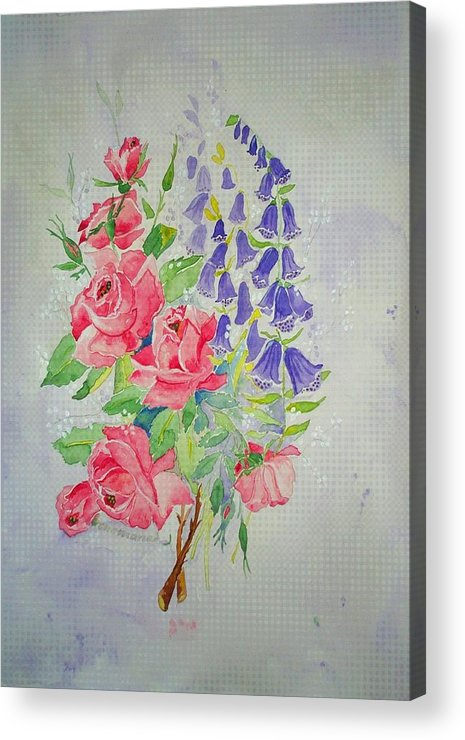 Roses Flowers Acrylic Print featuring the painting Roses And Digitalis by Irenemaria