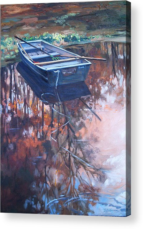 Water Acrylic Print featuring the painting Rowboat Ashore by Dianna Willman