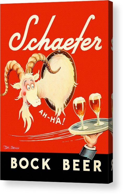 Schaefer Beer Acrylic Print featuring the painting Schaefer Beer Vintage Ad by John Farr