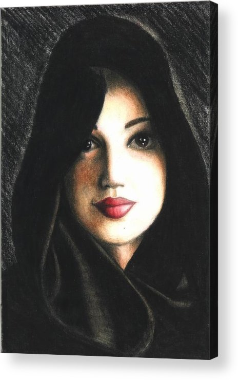 Portrait Acrylic Print featuring the drawing Self Portrait In Cape by Scarlett Royal