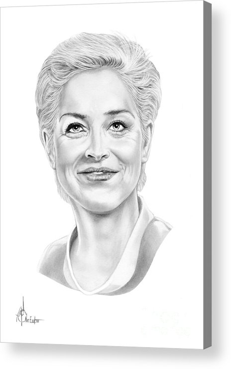 Drawing Acrylic Print featuring the drawing Sharon Stone by Murphy Elliott
