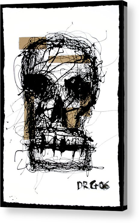 Abstract Acrylic Print featuring the painting Skull by Dmitry Gubin