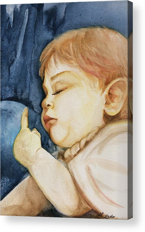 Portrait Commission Acrylic Print featuring the painting Sleep by L Lauter