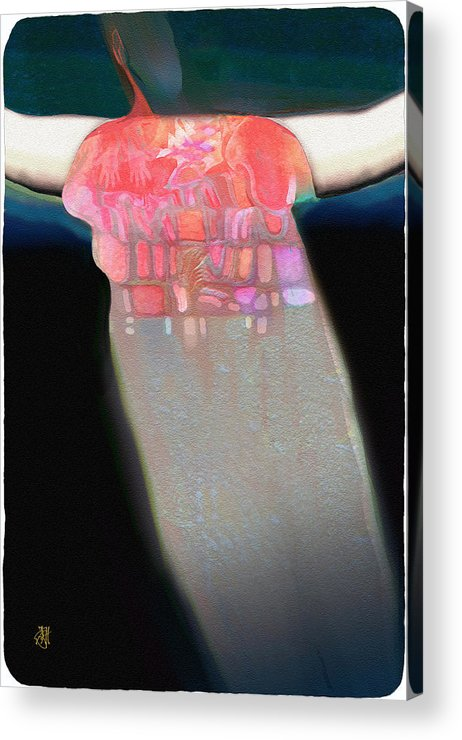 Native American Legend Acrylic Print featuring the digital art Slipping Through Sky Holes by John Helgeson
