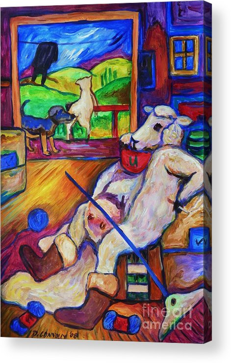 Sheep Acrylic Print featuring the painting Smoko At The Sheep Shearing Shed by Dianne Connolly