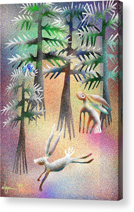 Land Of Ammaze Acrylic Print featuring the painting Snow Forest by Angela Treat Lyon