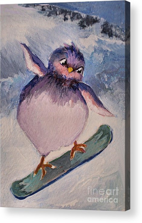 Bird Acrylic Print featuring the painting Snowboard Bird by Diane Ursin