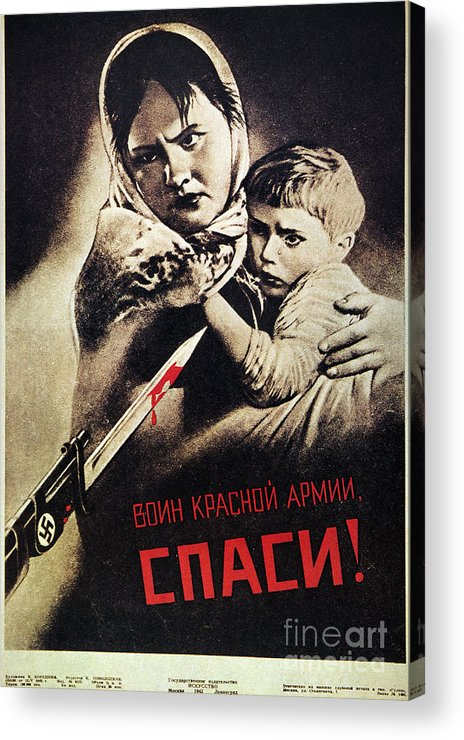 1942 Acrylic Print featuring the photograph Soviet Poster, 1942 by Granger
