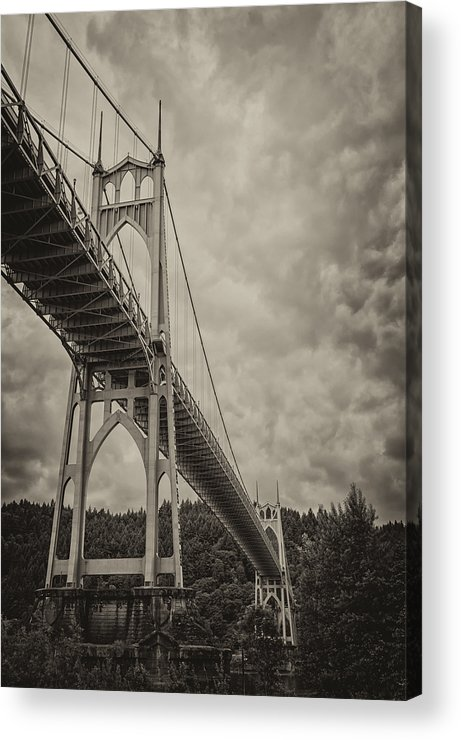 Loree Johnson Acrylic Print featuring the photograph St. Johns Bridge In Black And White by Loree Johnson