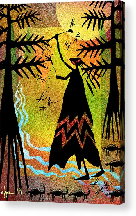 Land Of Ammaze Acrylic Print featuring the painting Star Seed by Angela Treat Lyon
