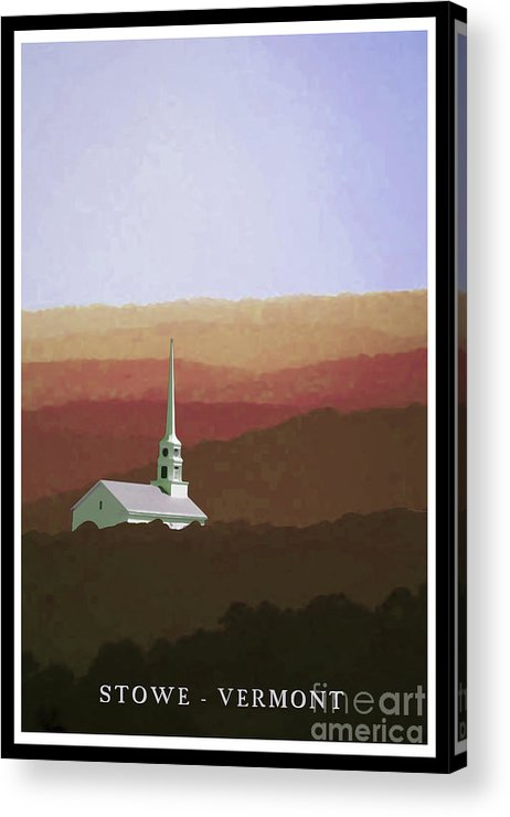 Vermont Acrylic Print featuring the painting Stowe Vermont Fall Poster by Edward Fielding