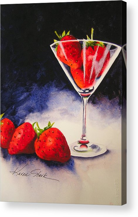 Strawberry Acrylic Print featuring the painting Strawberrytini by Karen Stark
