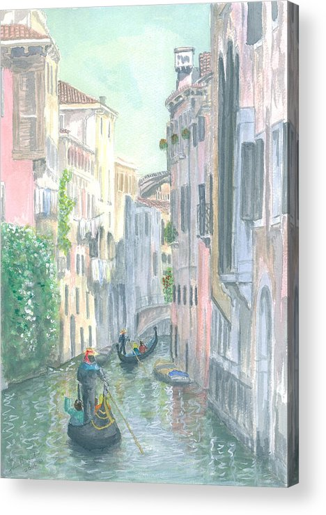 Venice Acrylic Print featuring the painting Street Scene by Dan Bozich