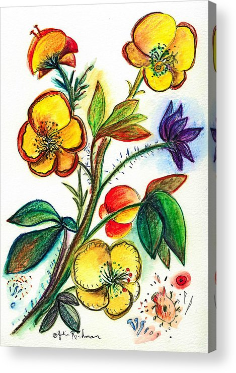 Nature Acrylic Print featuring the painting Strong Yellow Flowers by Julie Richman
