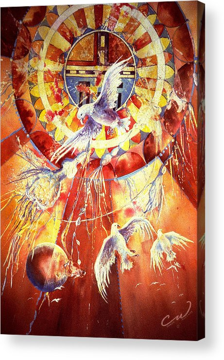 Birds Acrylic Print featuring the painting Sun God by Connie Williams