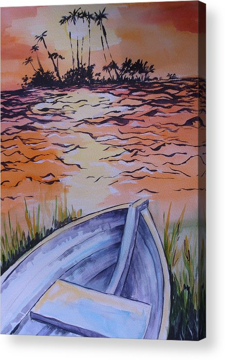 Seascape Acrylic Print featuring the painting Sunset Dinghy by Paul Choate
