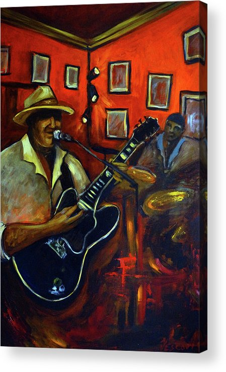 Blues Acrylic Print featuring the painting The Back Room by Valerie Vescovi