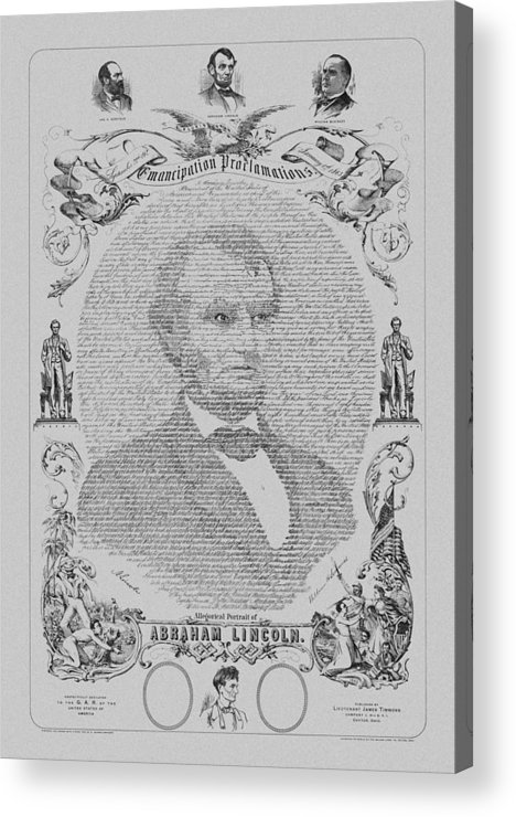 Emancipation Proclamation Acrylic Print featuring the drawing The Emancipation Proclamation by War Is Hell Store