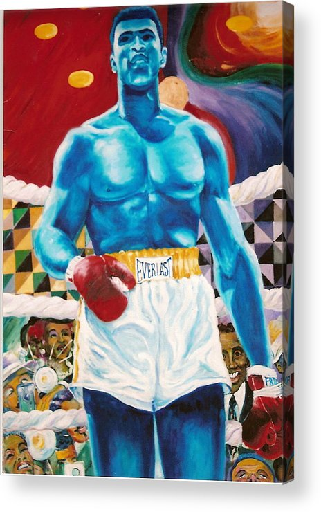 Mohammed Ali Acrylic Print featuring the painting The Greatest by Lee Ransaw