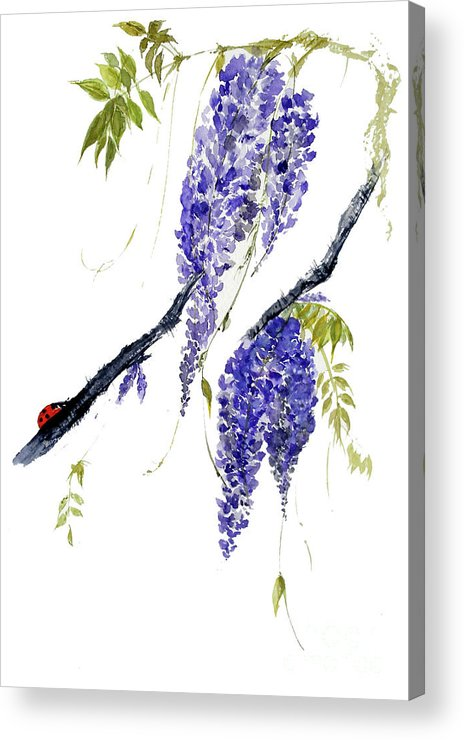 Wisteria Acrylic Print featuring the painting The Ladybird And The Wisteria by Sibby S