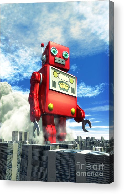 Robot Acrylic Print featuring the digital art The Red Tin Robot And The City by Luca Oleastri