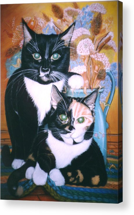 Cats Acrylic Print featuring the painting Two Cats by Winifred Ann Weishampel