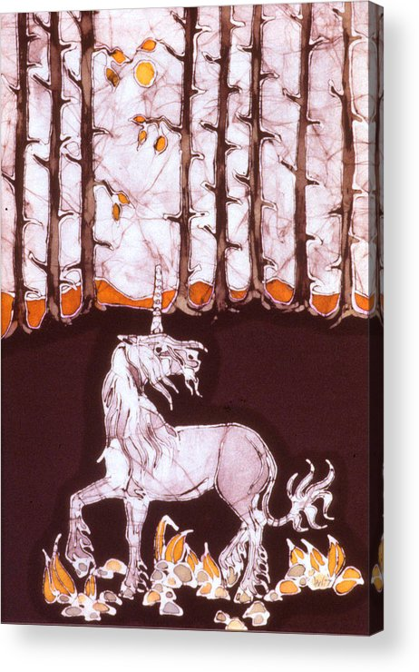 Unicorn Acrylic Print featuring the tapestry - textile Unicorn Below Trees In Autumn by Carol Law Conklin