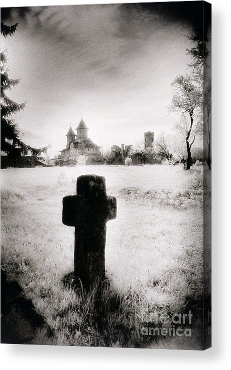 Vampire; Ghostly; Cross; Tombstone; Dracula Acrylic Print featuring the photograph Vlad Draculas Palace by Simon Marsden