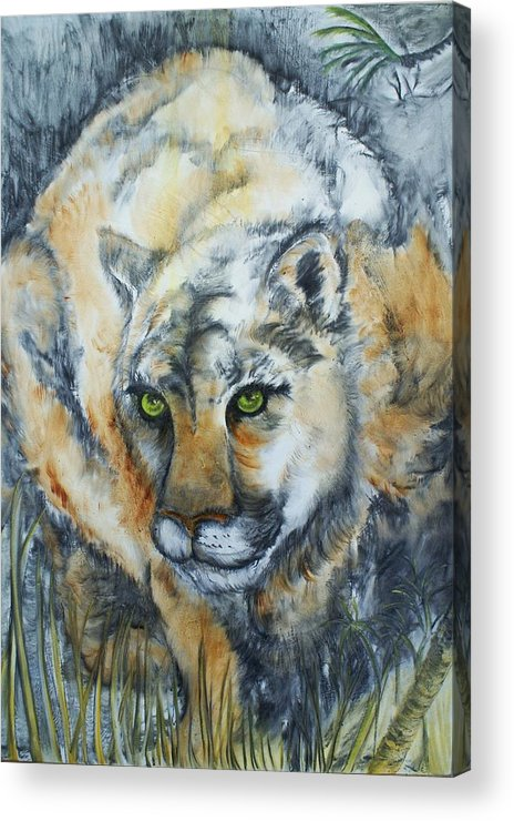 Cat Acrylic Print featuring the painting Waiting... by Elsa Zarduz