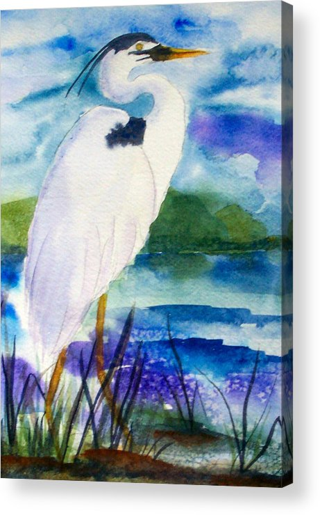 Heron Acrylic Print featuring the painting White Heron by Ruth Bevan