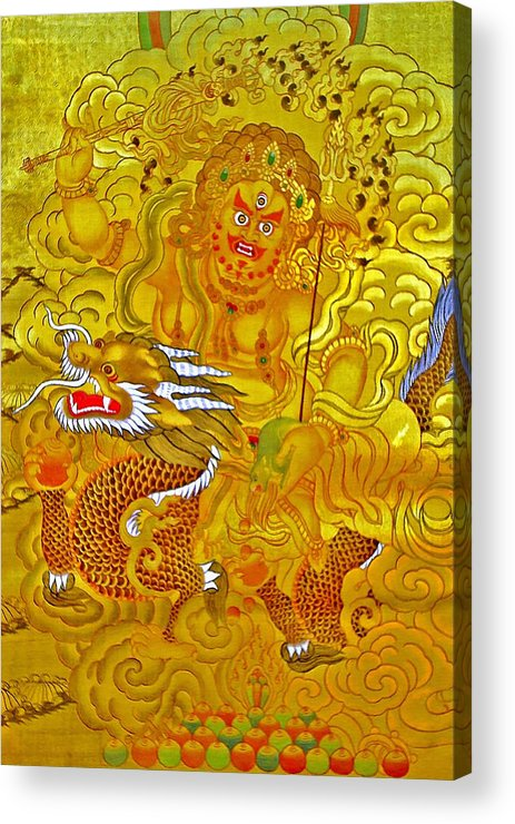 White God Of Wealth Acrylic Print featuring the photograph White Jambhala 5 by Jeelan Clark