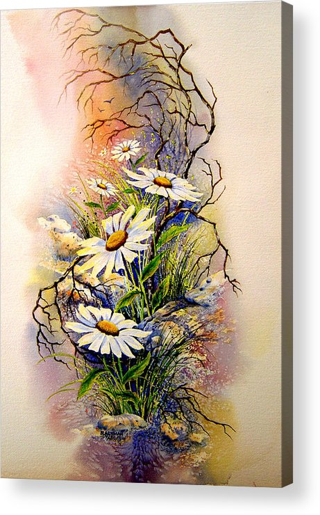 Floral Acrylic Print featuring the painting Wild Daisies by Brooke Lyman