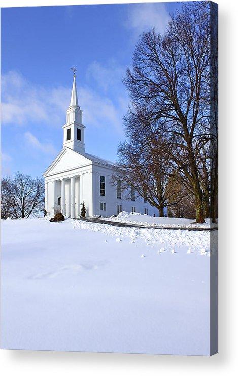 Beautiful Acrylic Print featuring the photograph Winter Church by Evelina Kremsdorf