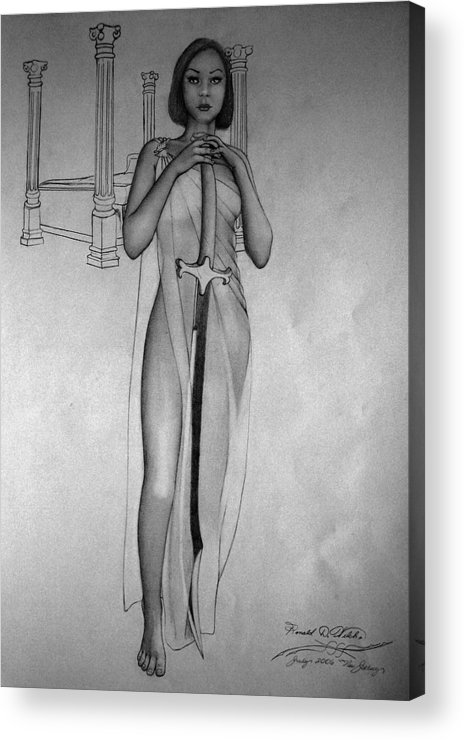 Woman Acrylic Print featuring the drawing Woman With Sword by Ronald Welch