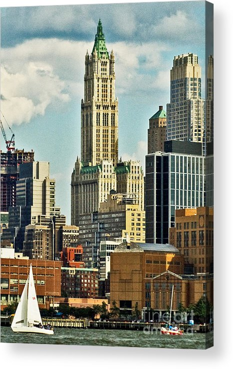 Woolworth Building Acrylic Print featuring the photograph Woolworth Building From Hudson River by Allan Einhorn