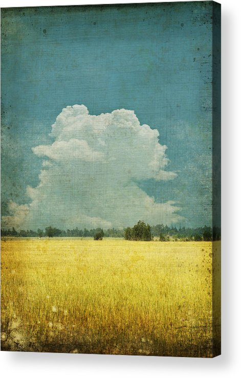 Abstract Acrylic Print featuring the photograph Yellow Field On Old Grunge Paper by Setsiri Silapasuwanchai