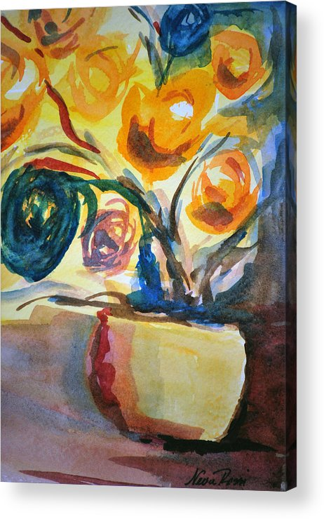 Floral Acrylic Print featuring the painting Yellow Floral by Neva Rossi