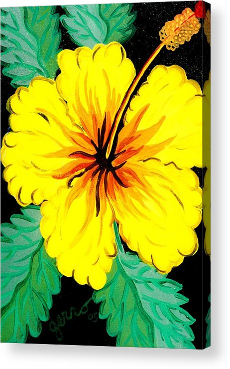 Hibiscus Artwork Acrylic Print featuring the painting Yellow Hibiscus by Helen Gerro