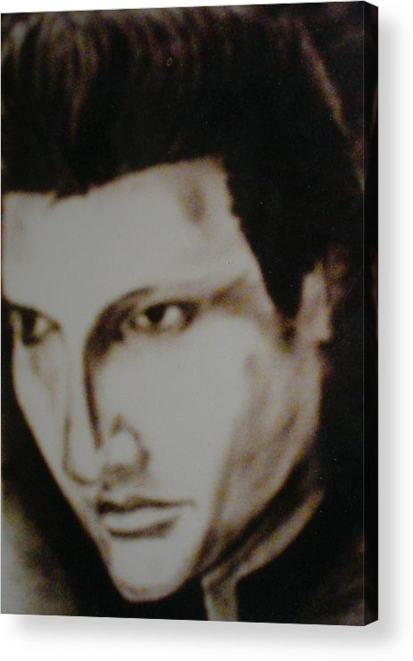 Elvis Acrylic Print featuring the drawing Young Elvis by Colin O neill