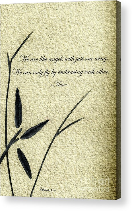 Abstract Acrylic Print featuring the mixed media Zen Sumi 4d Antique Motivational Flower Ink On Watercolor Paper By Ricardos by Ricardos Creations