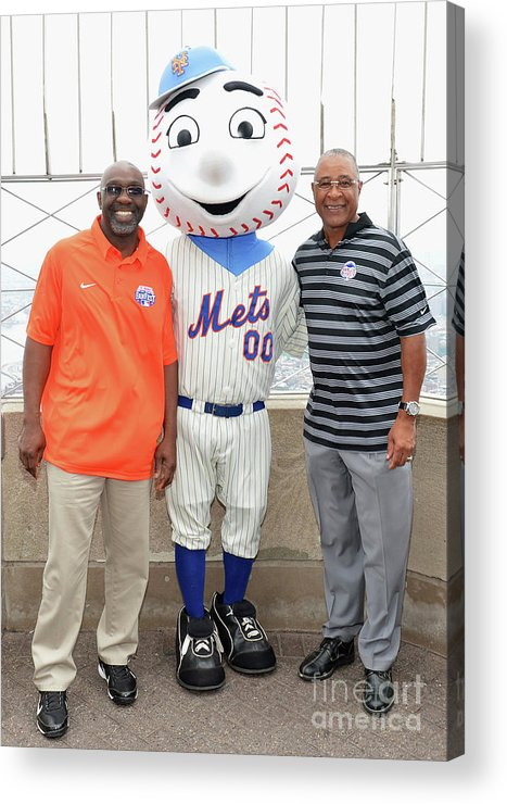 All Star Game Acrylic Print featuring the photograph Ozzie Smith, Mookie Wilson And Mr. Met 1 by Slaven Vlasic