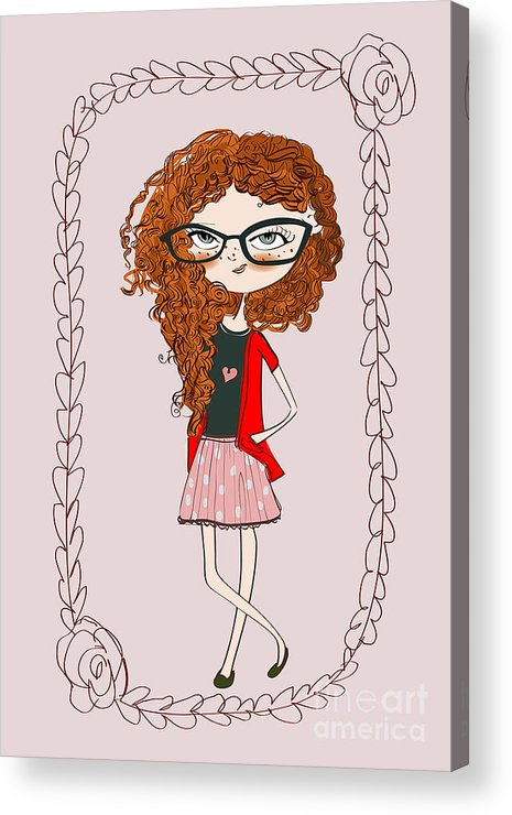Play Acrylic Print featuring the digital art Cute Little Fashion Girl With Doodle by Elena Barenbaum