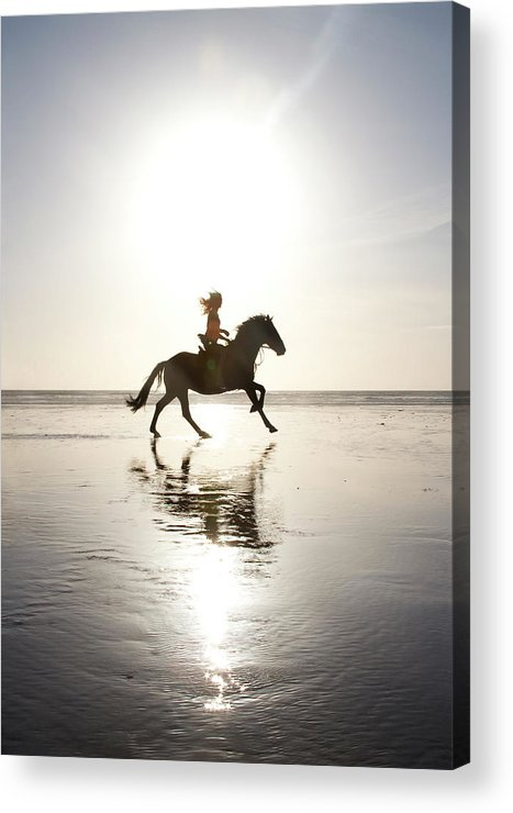 Horse Acrylic Print featuring the photograph Teenage Girl Riding Horse On Beach by Jo Bradford / Green Island Art Studios