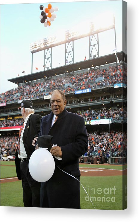 San Francisco Acrylic Print featuring the photograph Willie Mays And Gaylord Perry by Ezra Shaw