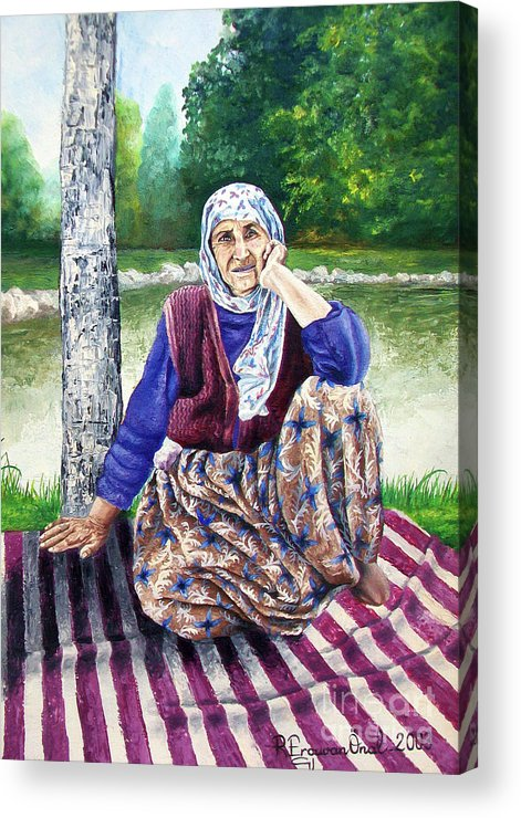 Old Woman Acrylic Print featuring the painting Resting - Descansar by Rezzan Erguvan-Onal
